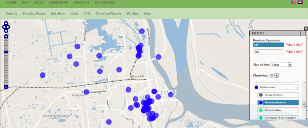 Crowdsourced reports about power cuts on Urban Voice in Phnom Penh as of Mar. 27, 2013.